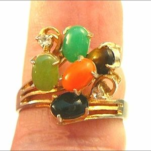 Jewelry - Vintage Gemstone Cluster Cocktail Ring Size 8.5